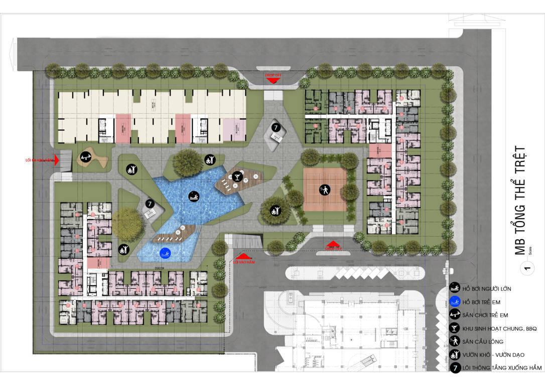 mặt bằng tiện ích dự án cộng hòa garden