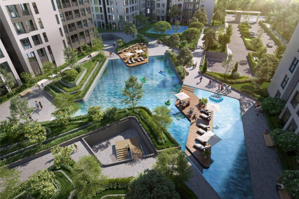 phối cảnh tiện ích hồ bơi căn hộ cộng hòa garden