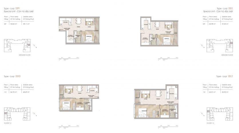 Thiết kế căn hộ 1 phòng ngủ loại 3