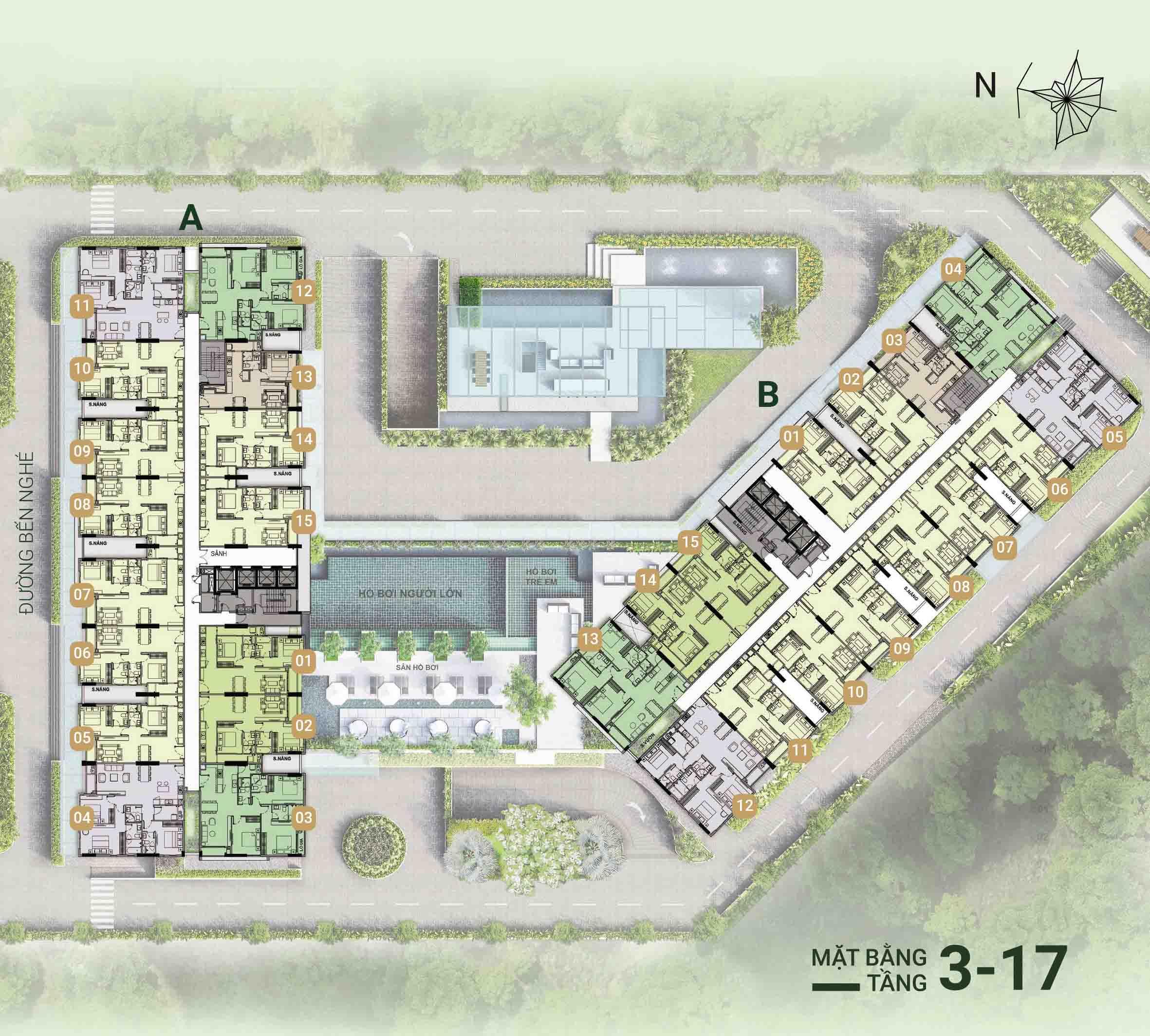 Mặt bằng tầng điển hình căn hộ ascent garden homes quận 7