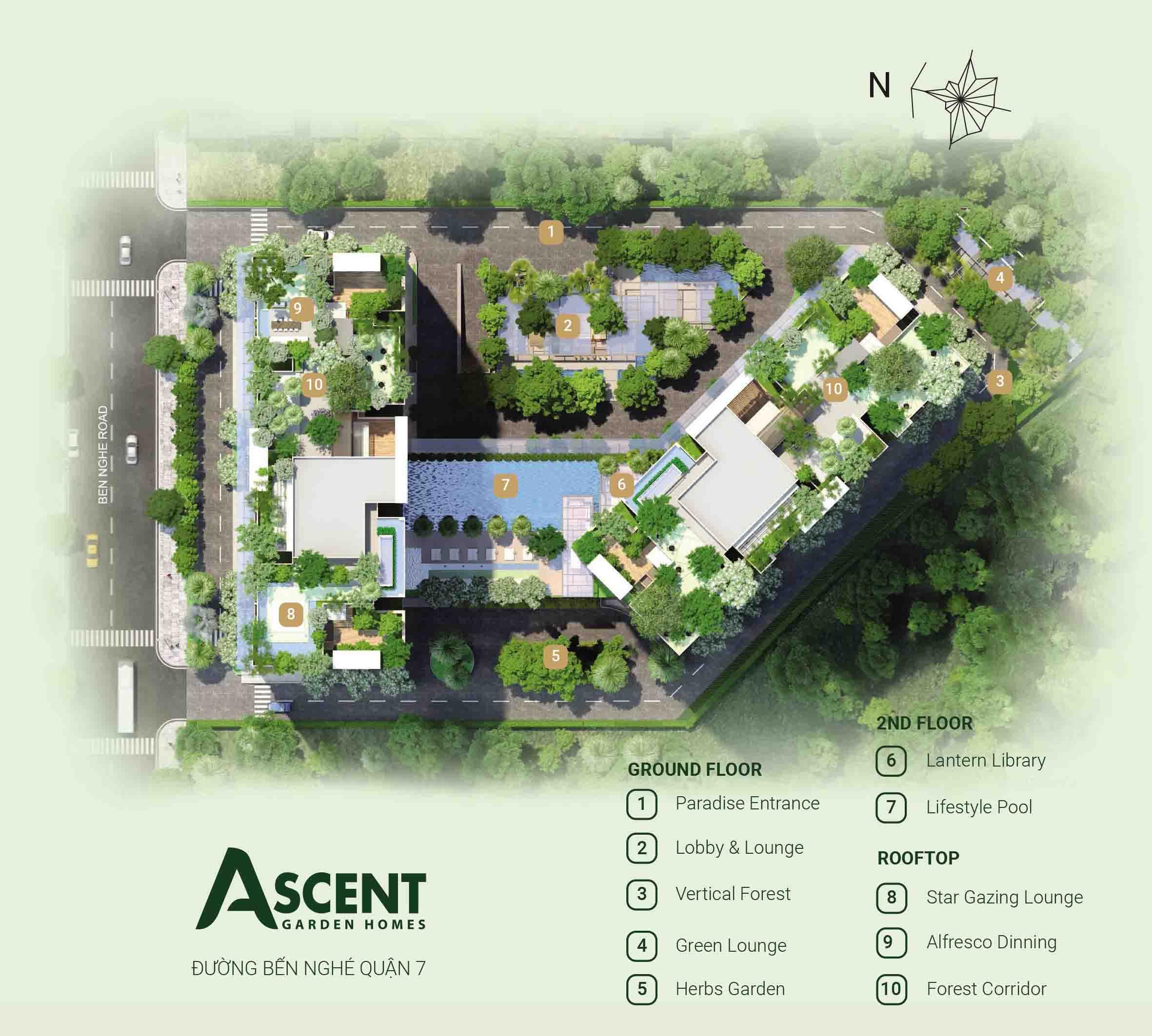 mặt bằng tiện ích căn hộ ascent garden homes