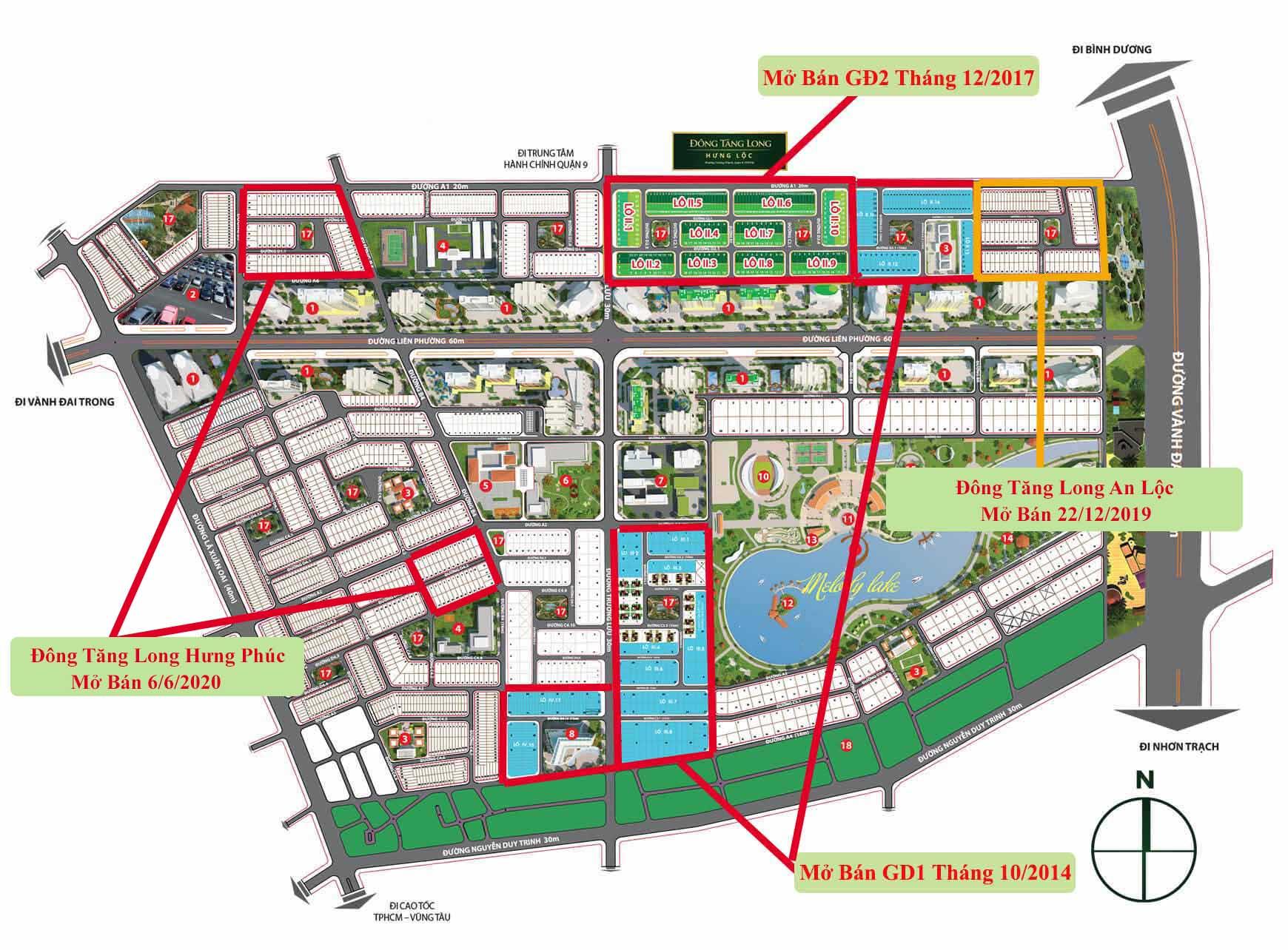 Các phân khu đã mở bán tại Đông Tăng Long