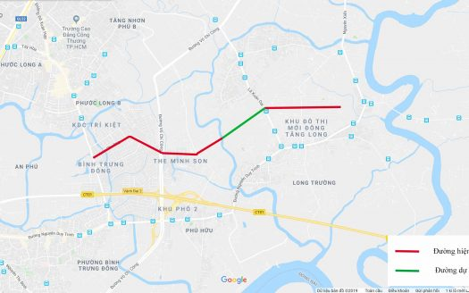 bản đồ vị trí đường liên phường quận 9 được quy hoach mở rộng