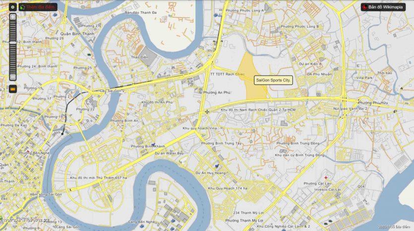 Bản đồ vị trí dự án saigon sport city quận 2