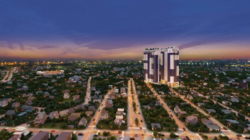 Phối cảnh đêm căn hộ c sky view bình dương
