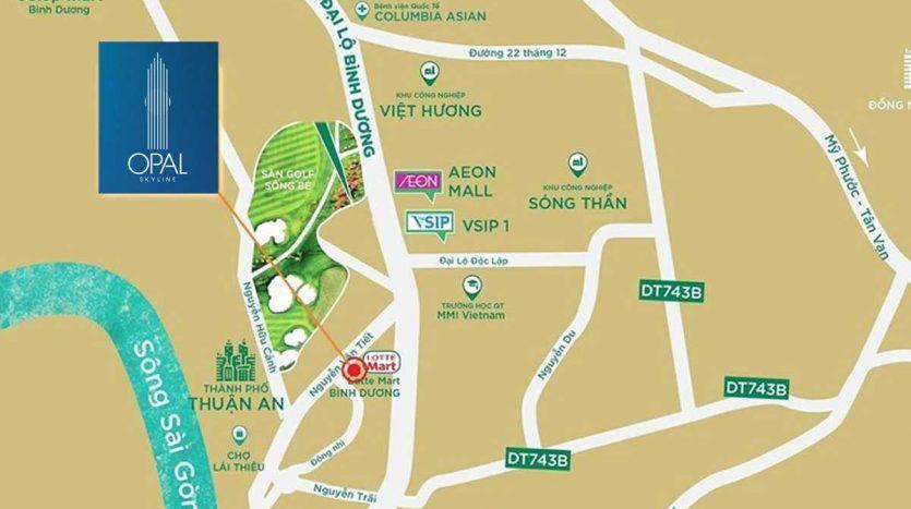 Vị trí dự án căn hộ Opal Skyline Thuận An Bình Dương