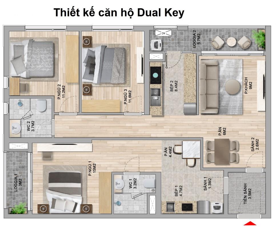 Thiết kế căn hộ dual key 2 chìa khóa