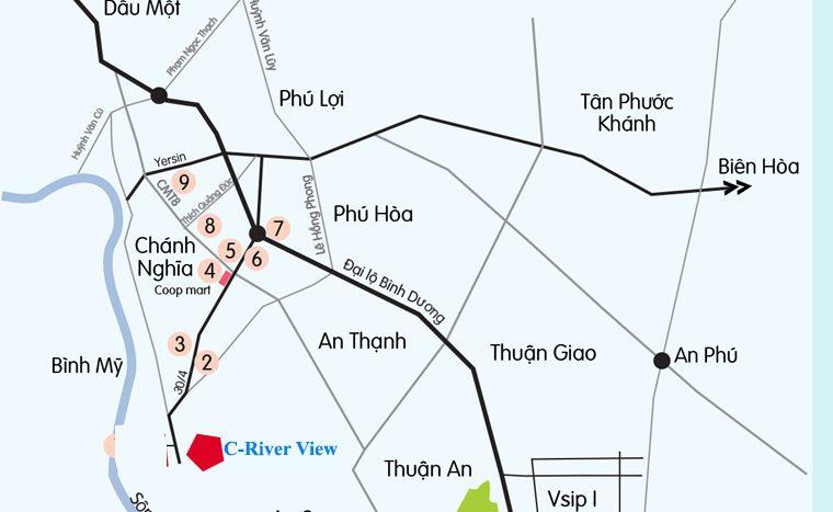 Vị trí dự án C River View Bình Dương